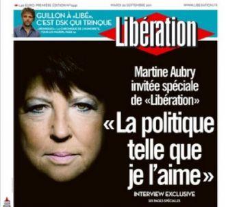Martine Aubry à la Une de 'Libération' le mardi 20...