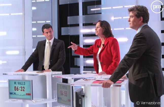 """Le Grand débat"", retransmis par i-Télé, LCP et Europe 1 le 28 septembre 2011."