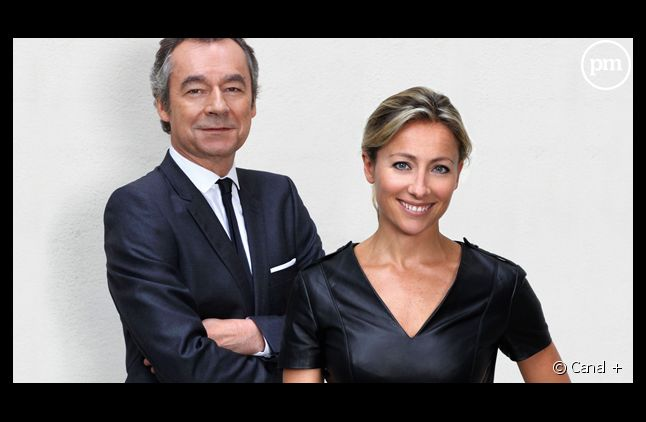 """Michel Denisot et Anne-Sophie Lapix aux commandes du """"Grand Journal du 1er tour""""."""