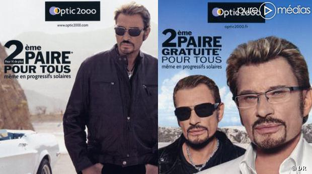 "Les publicités ""Optic 2000"" avec Johnny Hallyday."