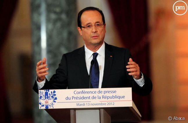 François Hollande dans la salle des fêtes de l'Elysée, le 13 novembre 2012
