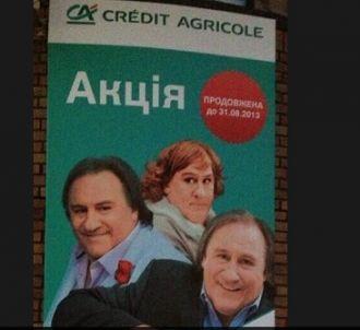 Gérard Depardieu dans une campagne pour le Crédit...