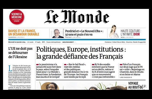 La Une du Monde, daté du 22 janvier 2014.