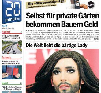<p>Conchita Wurst à la Une de l'édition <span>zurichoise...