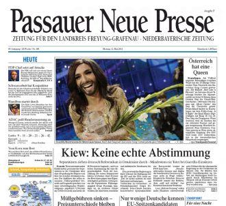 <p>Conchita Wurst à la Une des journaux régionaux...