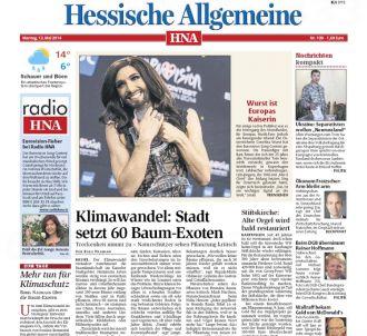 <p>La Une du 'Hessische Allgemeine' le 12 mai 2014.</p>