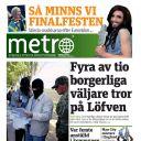 """La Une de la version suédoise de """"Métro""""."""