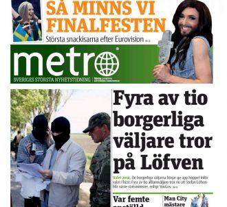 La Une de la version suédoise de 'Métro'.