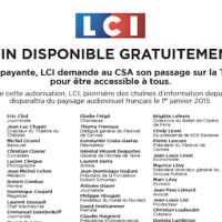 Après Paris Première, LCI publie une pétition en faveur de son passage en gratuit