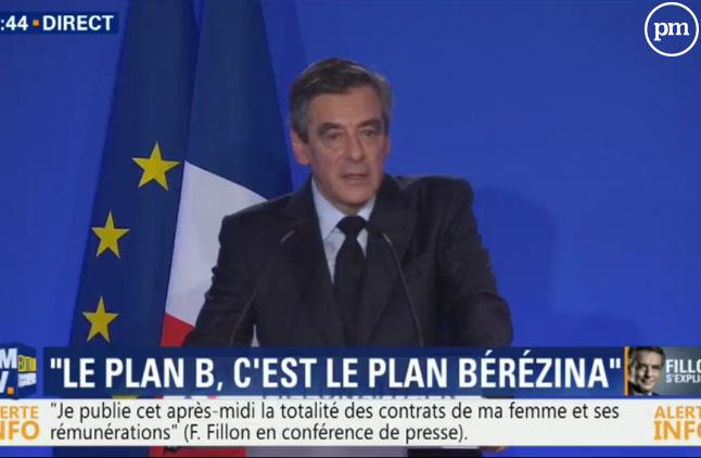 François Fillon face aux journalistes, le 6 février 2017.