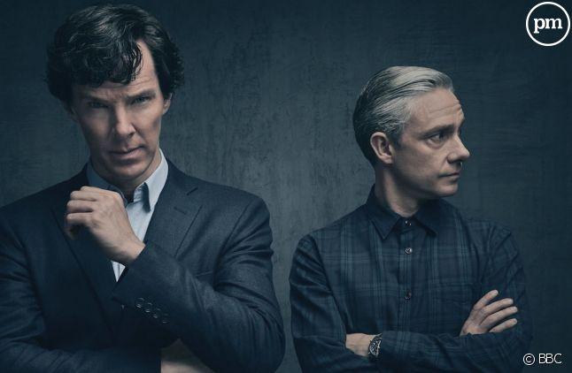 "Benedict Cumberbatch et Martin Freeman dans ""Sherlock"""