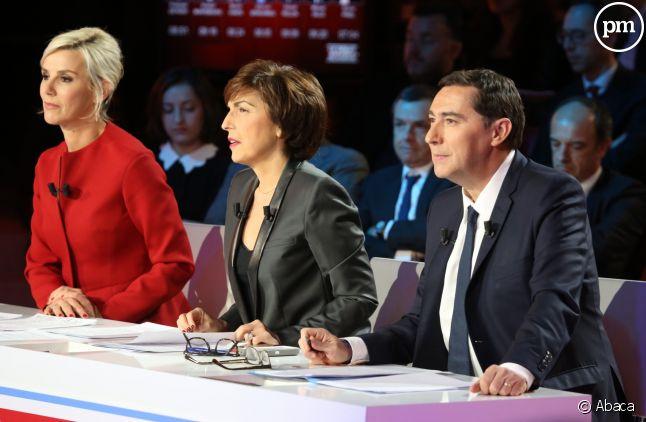 Laurence Ferrari, Ruth Elkrief et Laurent Neumann.