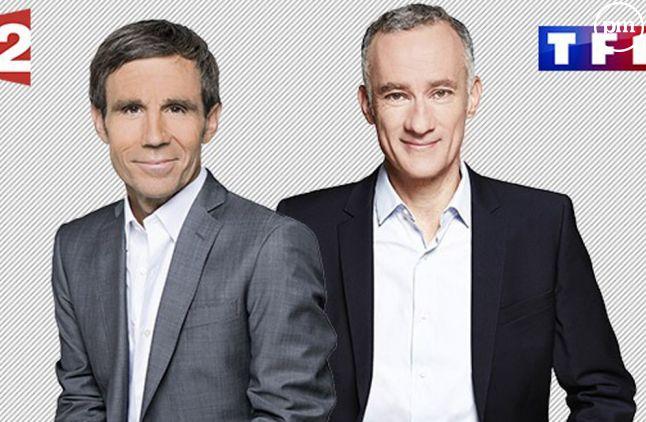 David Pujadas et Gilles Bouleau, intervieweurs de l'entre-deux tours.