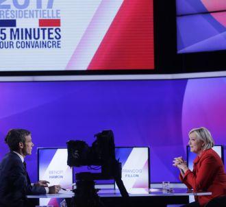 Marine Le Pen et David Pujadas, sur France 2.