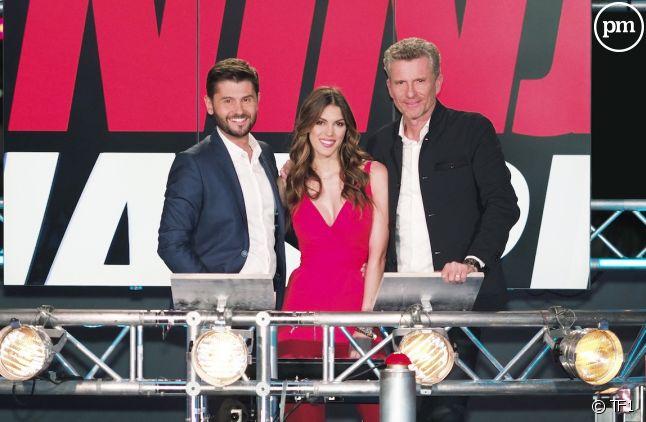 "Christophe Beaugrand, Iris Mittenaere et Denis Brogniart dans ""Ninja Warrior"" saison 3"