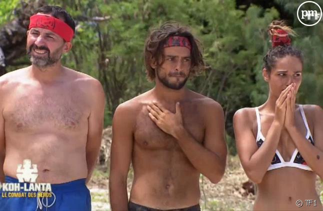 """Javier, Jérémy et Cassandre dans """"Koh-Lanta : Le combat des héros"""""""