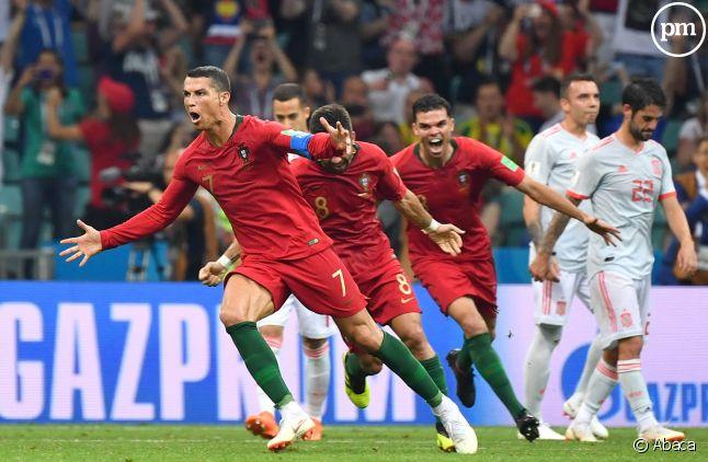 Cristiano Ronaldo a marqué trois buts face à l'Espagne hier dans la Coupe du monde.