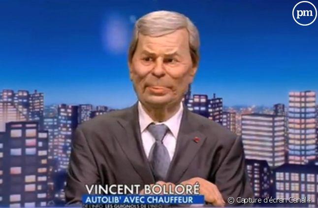 """Vincent Bolloré dans """"Les Guignols"""" en février 2015"""