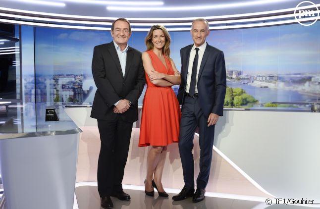 Jean-Pierre Pernaut, Anne-Claire Coudray et Gilles Bouleau sur le plateau actuel des JT de TF1