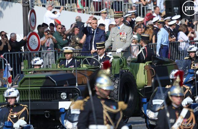 Emmanuel Macron lors du défilé militaire du 14 juillet 2018.