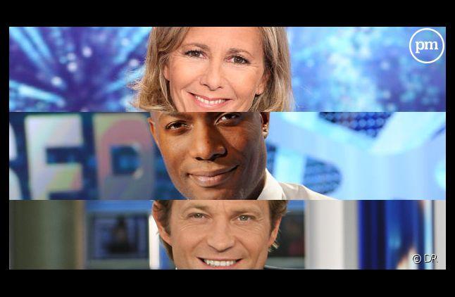 Claire Chazal, Harry Roselmack et Laurent Delahousse.