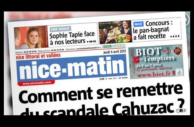 """Sophie Tapie à la Une de """"Nice Matin"""", le journal de son père, Bernard Tapie."""