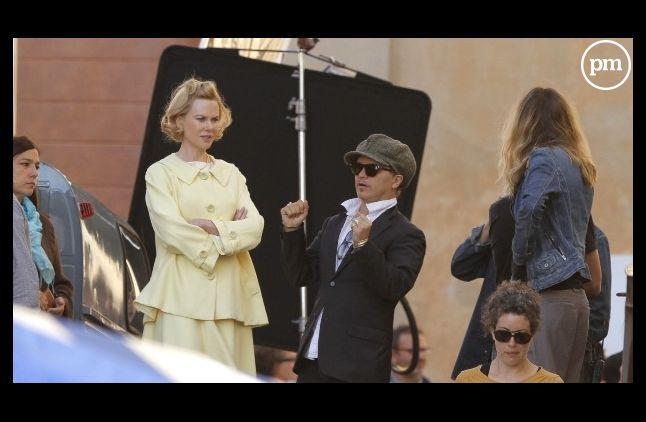 """Olivier Dahan avec <span>Nicole Kidman  sur le tournage de</span> """"Grace de Monaco"""""""