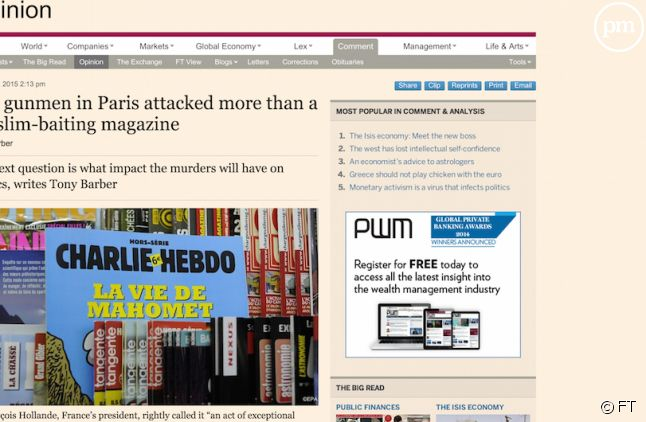 "Le ""Financial Times"" évoque l'attitude ""stupide"" de ""Charlie Hebdo"""
