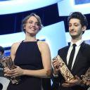 Adèle Haenel, Pierre Niney et Kristen Stewart lors de la 40ème Cérémonie des César