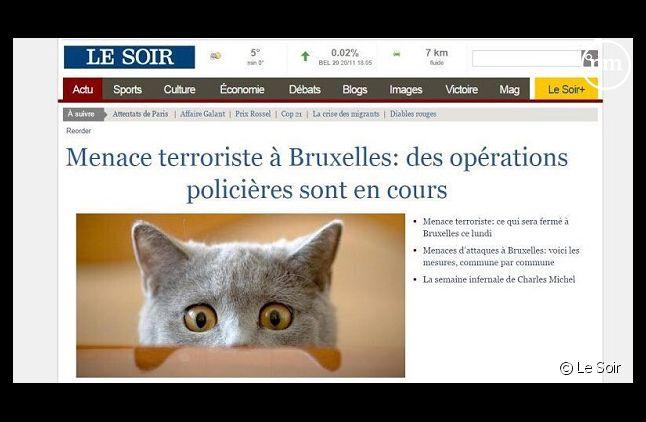 """La Une du site du """"Soir"""""""