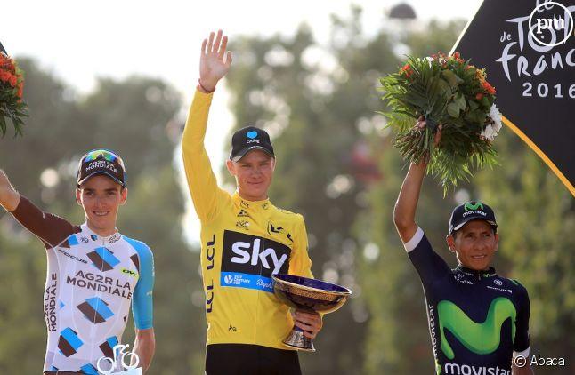 Chris Froome, Romain Bardet et Nairo Quintana hier sur les Champs-Elysées