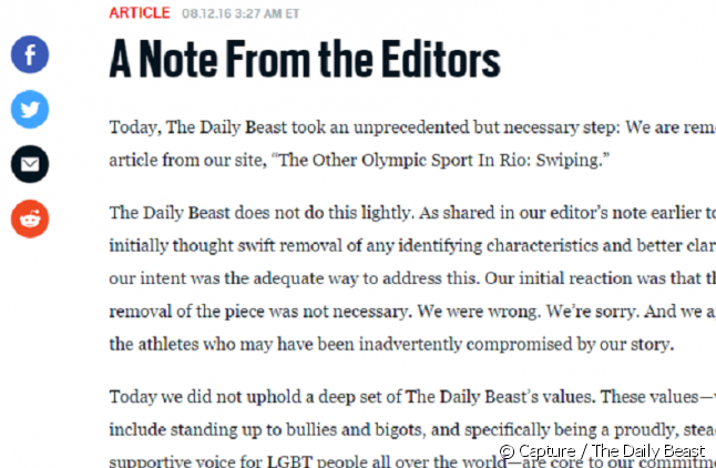 "L'éditorial du ""Daily Beast""."