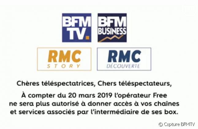 Un message diffusé sur l'antenne de BFMTV le 13 mars 2019.