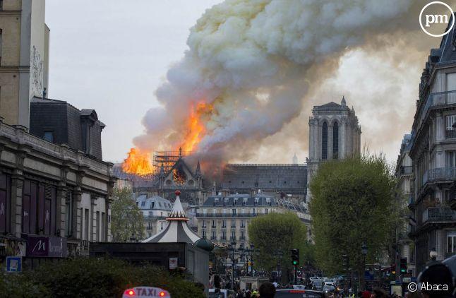 La cathédrale Notre-Dame de Paris en feu le 15 avril 2019