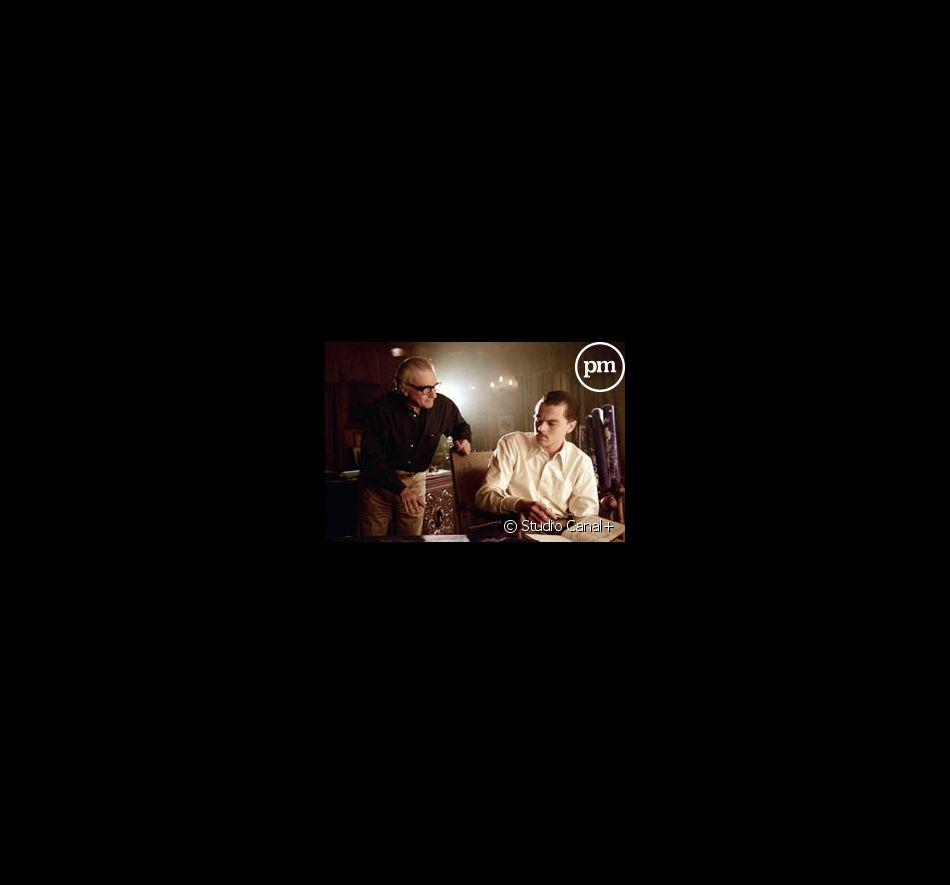 "Martin Scorsese et Leonardo DiCaprio sur le tournage de ""Aviator""."