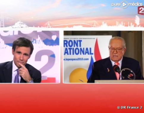 David Pujadas et Jean-Marie Le Pen, le 21 mars sur France 2