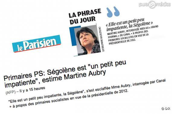 "La ""petite phrase"" de Martine Aubry dans la presse."