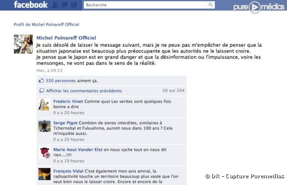 Un message de Michel Polnareff sur Facebook