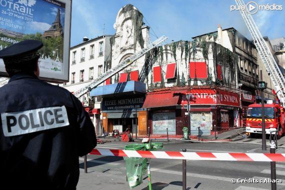 L'incendie de la salle de l'Elysée Montmartre, le 22 mars 2011 à Paris