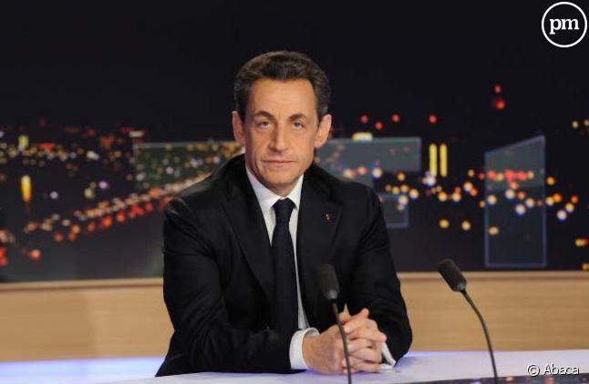 Nicolas Sarkozy sur le plateau de TF1, le 15 février 2012.