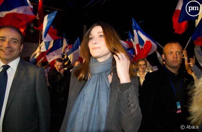 Carla Bruni-Sarkozy, lors d'un meeting de Nicolas Sarkozy en avril 2012.