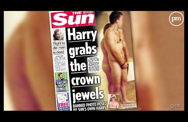 """La Une du tabloïd """"The Sun"""" avec une doublure du prince Harry."""
