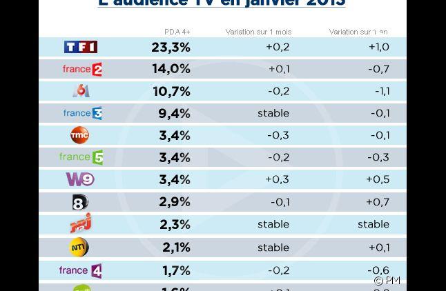 Audiences janvier 2013