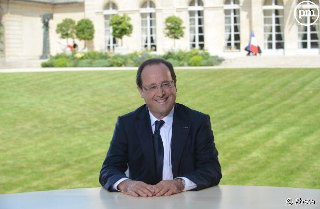 François Hollande, face à Claire Chazal et Laurent Delahousse le 14 juillet sur TF1.