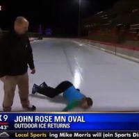 La chute d'une journaliste américaine à la patinoire