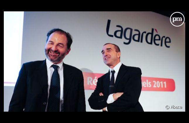 Arnaud Lagardère et Denis Olivennes, le patron des médias du groupe.