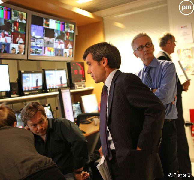 David Pujadas, dans la régie du 20 heures de France 2.