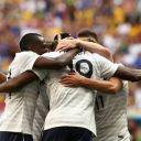 Les Bleus ravis après leur voctoire contre le Nigeria, le 30 juin 2014.