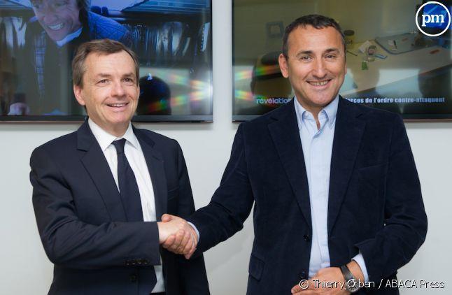 Alain Weill (NextRadioTV) et Pascal Houzelot (à droite)