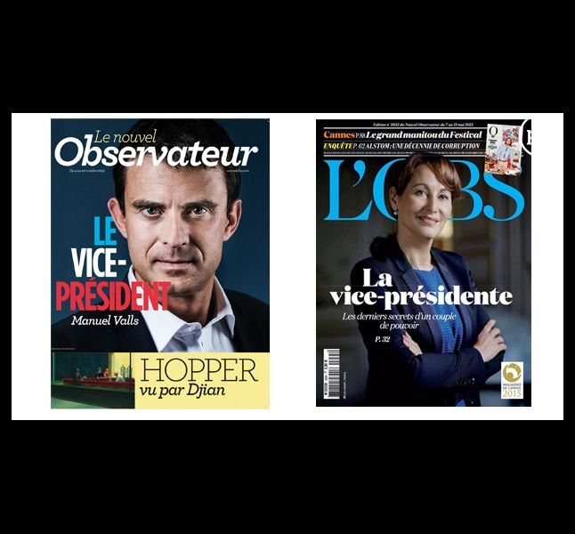 """""""L'Obs"""", en 2012 et 2015."""
